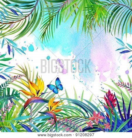 Tropical flowers, leaves and butterfly watercolor illustration