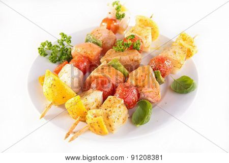grilled fish kebab