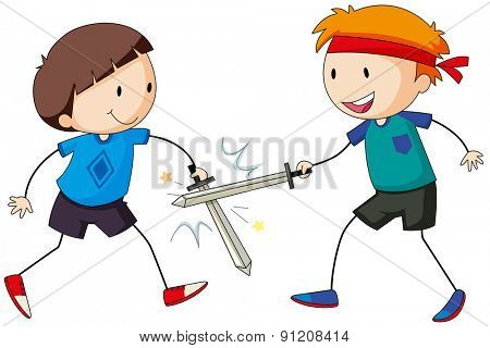 Two boy playing swordfighting together