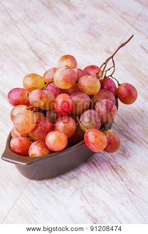 Pink Grapes In Bowl