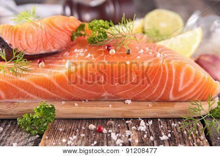 raw salmon on board