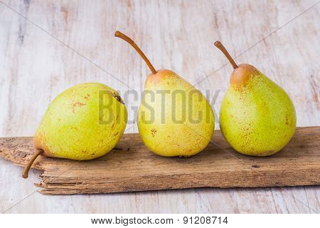 Pears On A Old Board.