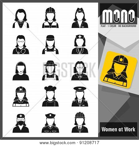 Mono Icons - Women At Work. Flat Monochromatic Icons
