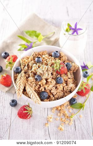 bowl of muesli with berries fruits
