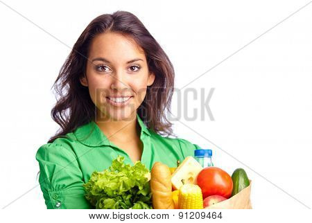 Portrait of pretty girl with different products