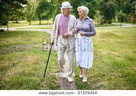 Portrait of well-dressed seniors walking in summer