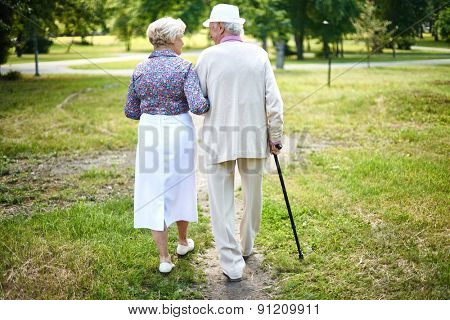 Rear view of well-dressed seniors taking a walk in summer
