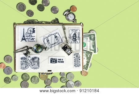 Wooden Travel Box With Stickers Of Fabric, Banknotes And Coins, Watches, Metal Pendants In The Form