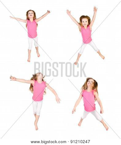 Collection Of Photos Cute Little Girl Jumping In Air