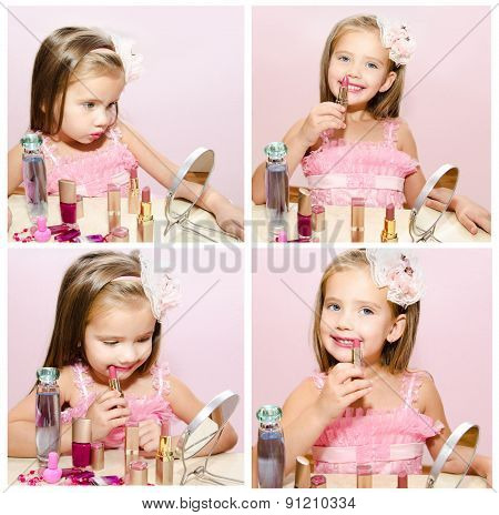 Collection Of Photos Child Cosmetics Adorable Little Girl With Lipstick