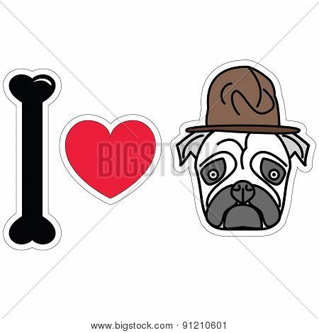 I Love Pug With Hat Pharell Williams Style