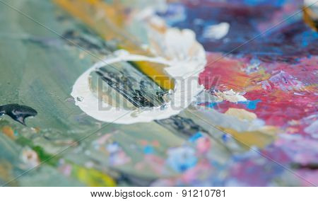 artist's palette with oil paints
