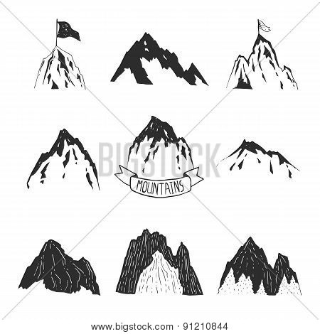 Mountains vector collection, hand drawn mountain set