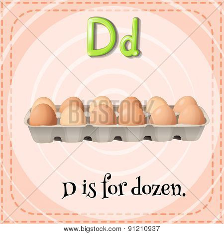 Flashcard letter D is for dozen
