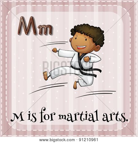 Flashcard letter M is for martial arts