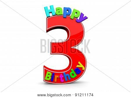 The Big Red Number 3 With Happy Birthday