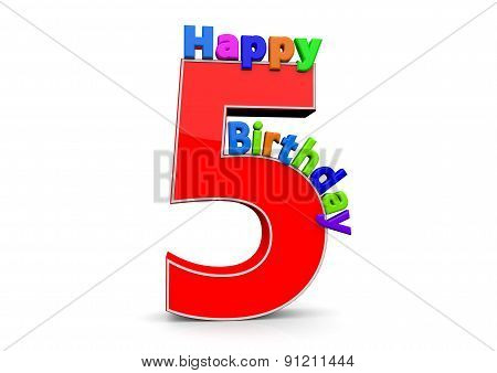 The Big Red Number 5 With Happy Birthday