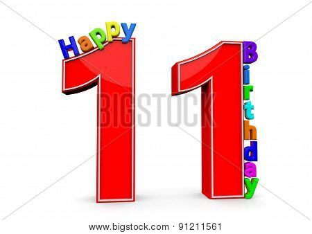 The Big Red Number 11 With Happy Birthday