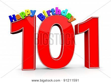 The Big Red Number 101 With Happy Birthday