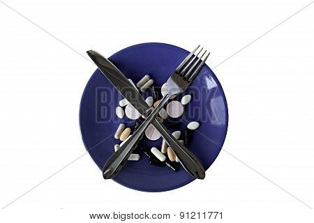 The plate with pills