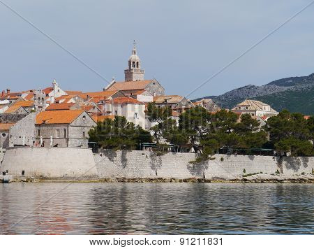 Korcula with the cathedral of st Marco