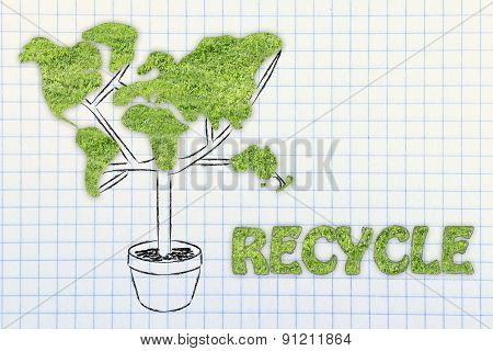 Tree With World Map Shaped Foliage, Concept Of Ecology And Recycling