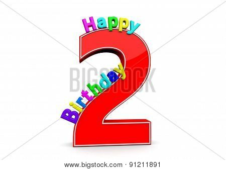 The Big Red Number 2 With Happy Birthday