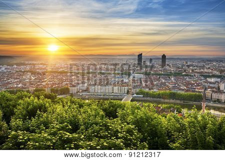 View Of Lyon At Sunrise