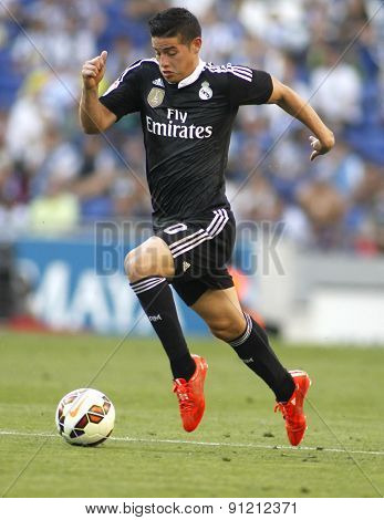 BARCELONA - MAY, 17: James Rodriguez of Real Madrid of during a Spanish League match against RCD Espanyol at the Power8 stadium on Maig 17 2015 in Barcelona Spain