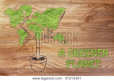 Tree With World Map Shaped Foliage, Concept Of Ecology For A Greener Planet