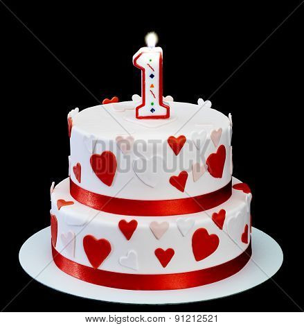 Birthday Cake And Number 1 Isolated On A Black Background