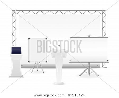 White Exhibition Complex For The Presentation Or Workshop Vector Illustration