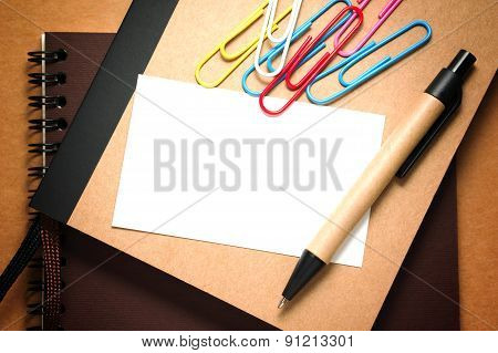 White Paper Card With Pen
