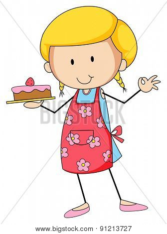 Closeup happy female baker holding cake