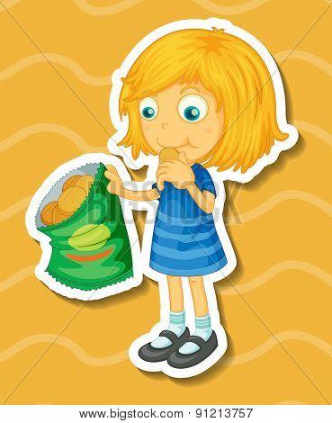 Closeup cute girl eating potato chips