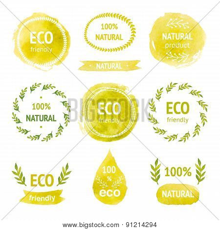 Set of hand drawn watercolor eco labels