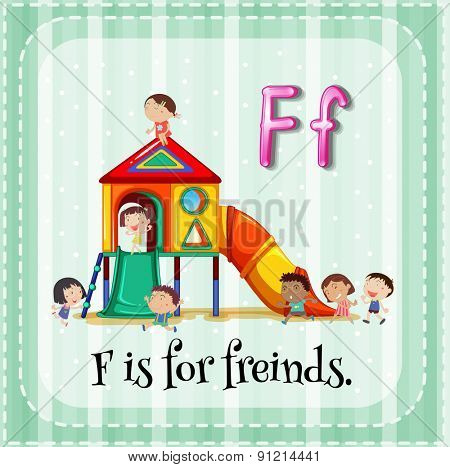Flashcard letter  F is for friends