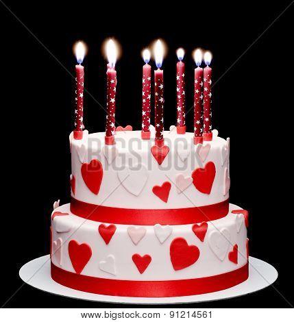 Anniversary Celebration Candles On Cake