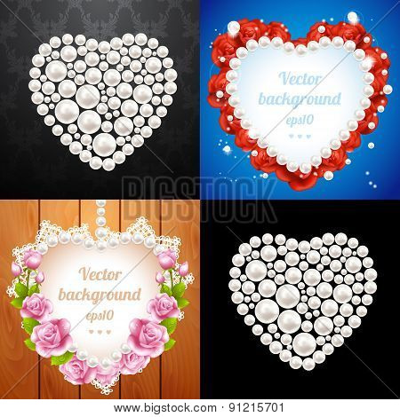 Set of heart frames made from pearls
