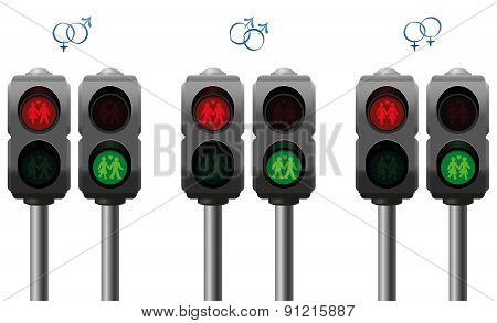 Love Couples Gay Homo Hetero Pedestrian Lights
