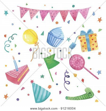 Watercolor Happy birthday set