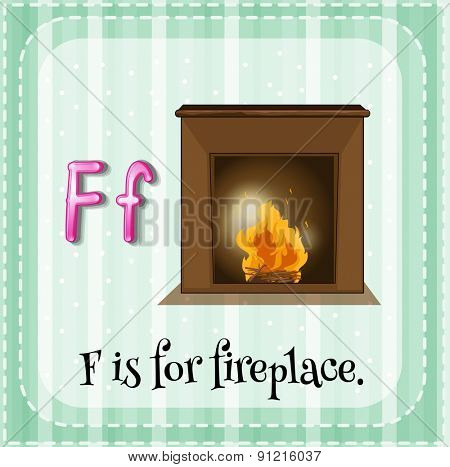 Flashcard letter F is for fireplace
