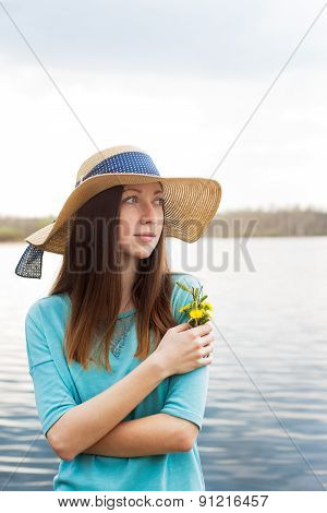 Freckled Girl With Bouquet