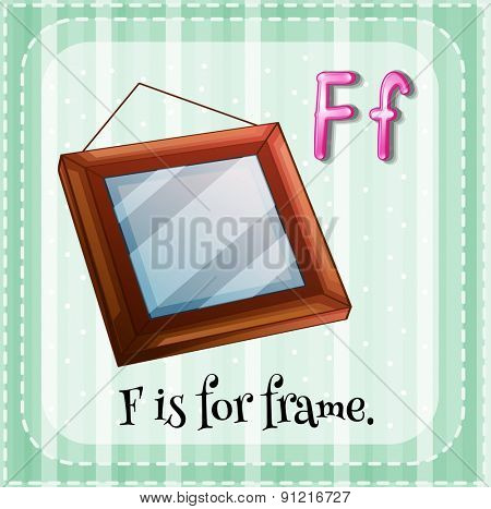 Flashcard alphabet F is for frame