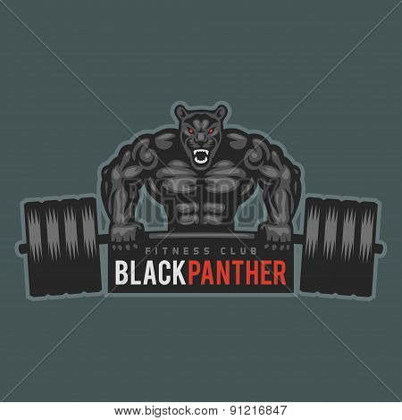 Emblem panther bodybuilder lifting barbell and growls