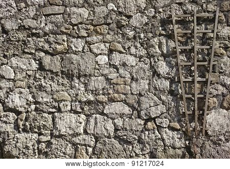 part of a stone wall with gardening element, for background or texture