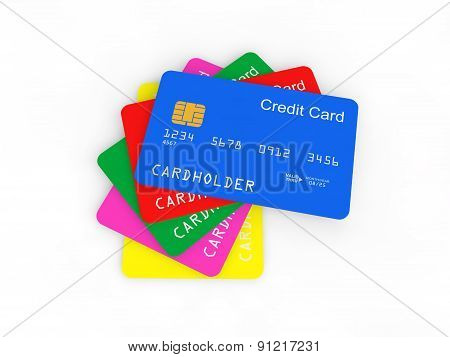 3d pile of credit cards