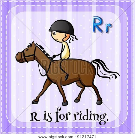 Flashcard alphabet R is for riding