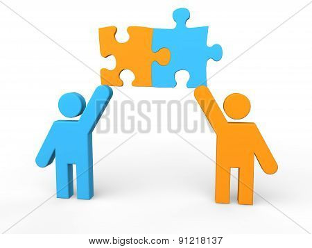 3d men sharing puzzle pieces
