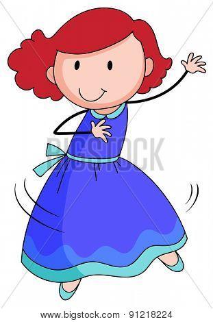Closeup girl in blue dress dancing alone